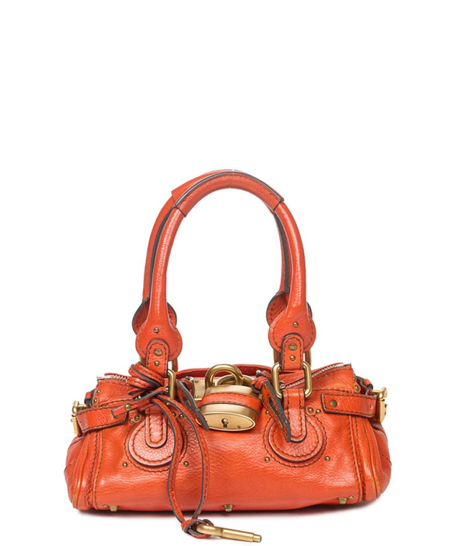 c47e409d17fa Paddington orange leather grab bag Sale - Vintage Chloé