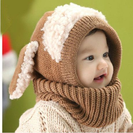 Christmas Baby Hats With Ears Newborn Toddler Beanie Knitted Caps Hooded  Scarf Earflap Cap Warm Shawl Kids Girls Boys Hat Scarf 640059a5a241