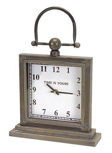 Pack Of 2 Antique Gray Metal Decorative Desk Clocks With Handle 12 Check