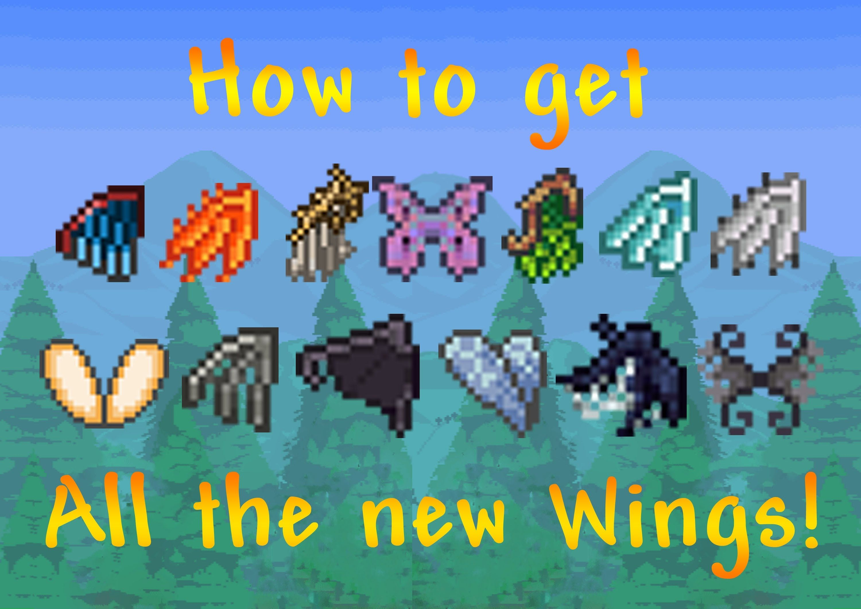 Terraria How To Get All The New Wings Benyhild Terrarium Terraria Party Terraria Tips