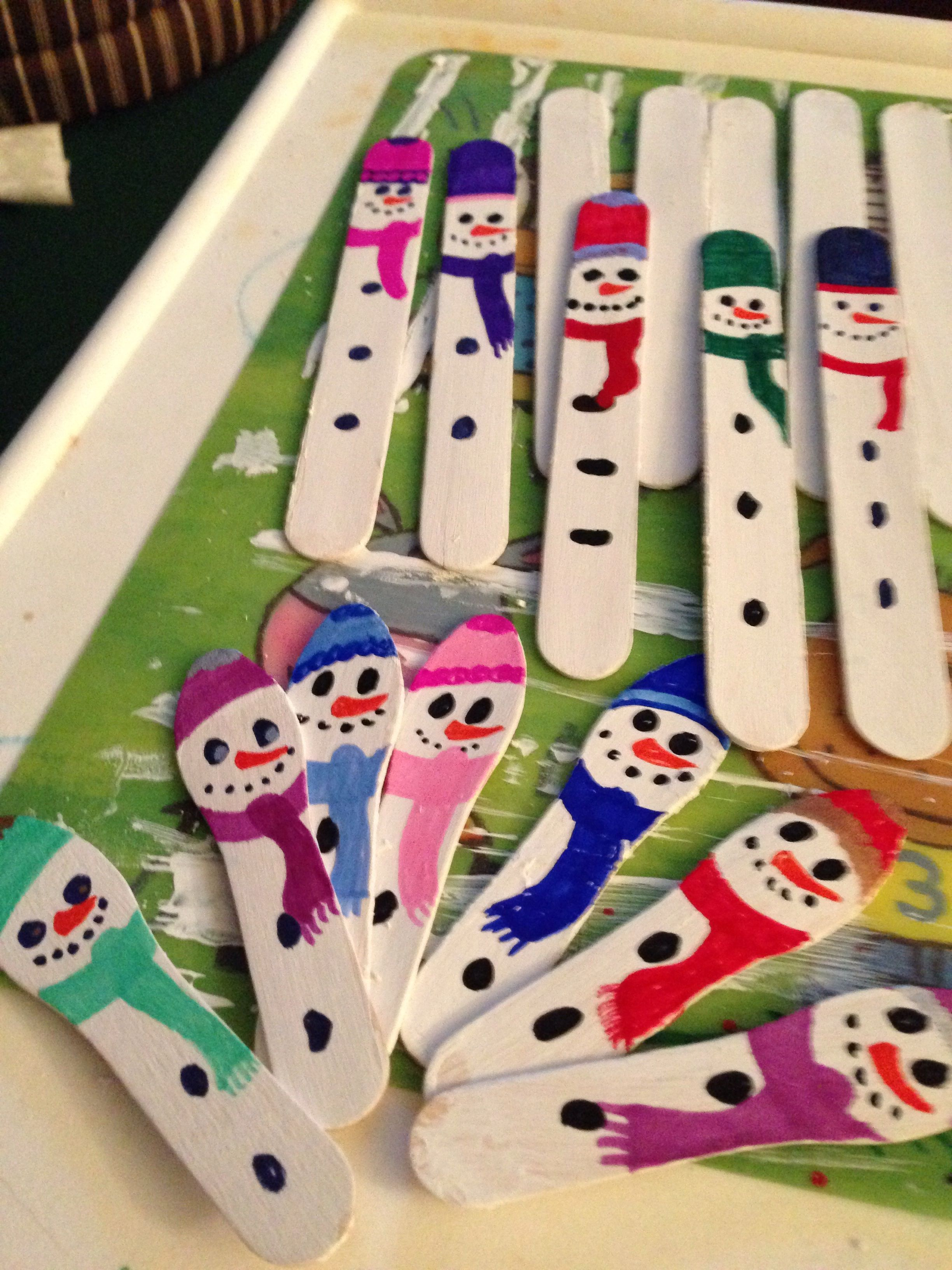 Snowmen Made From Wooden Sticks And Spoons
