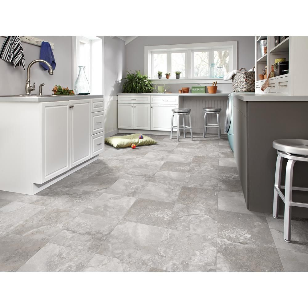 Trafficmaster Travertine Grey 12 Ft Wide X Your Choice Length Residential Vinyl Sheet U9 Grey Kitchen Floor White Kitchen Remodeling Travertine Kitchen Floors