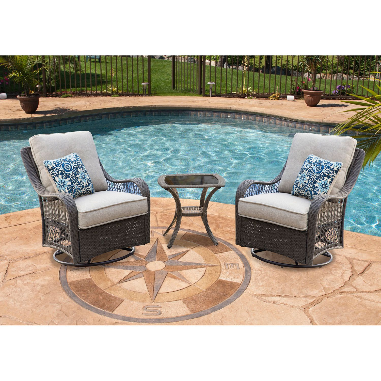Hanover Outdoor Orleans 3-piece Swivel Rocking Chat Set in Lining