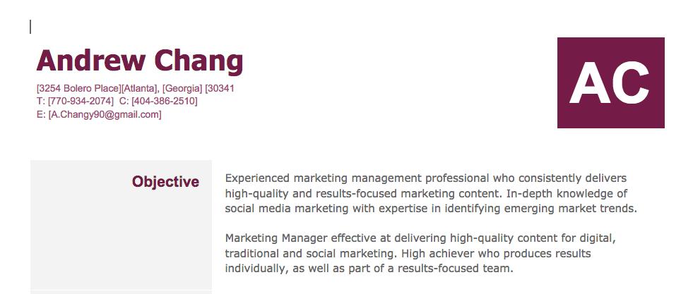 Objective Social marketing, Personal resume, Marketing