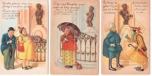 VINTAGE REPRODUCTION PEEING FOUNTAIN COMIC POSTCARD LOT SERIES OF 7