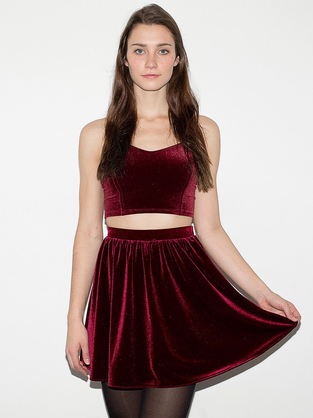 c5a438ed29 Unf I already own two skirts like that but now I MUST have this color.  Stretch Velvet Skirt | American Apparel Velvet Skater Dress ...