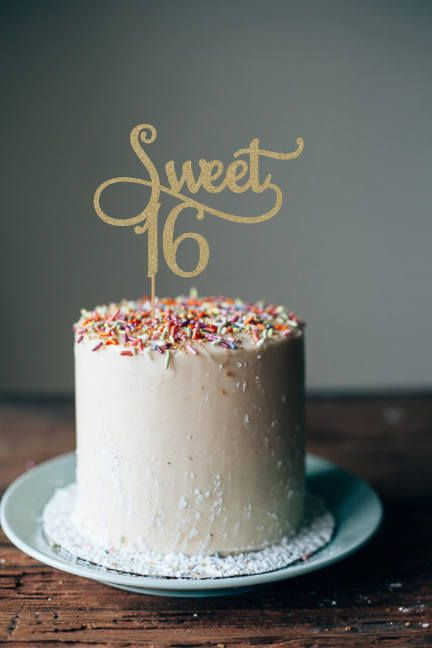 This listing is for 1 Sweet 16 cake topper It is made of ...