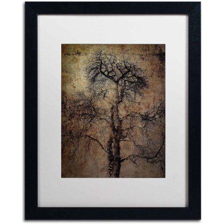 Trademark Fine Art Grungy Tree Canvas Art By Erik Brede White Matte Black Frame Size 16 X 20 Trademark Fine Art Tree Canvas Grungy