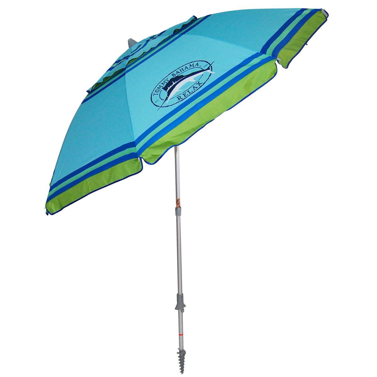 Tommy Bahama 7 Ft Vented Aluminum Beach Umbrella W Built In Sand