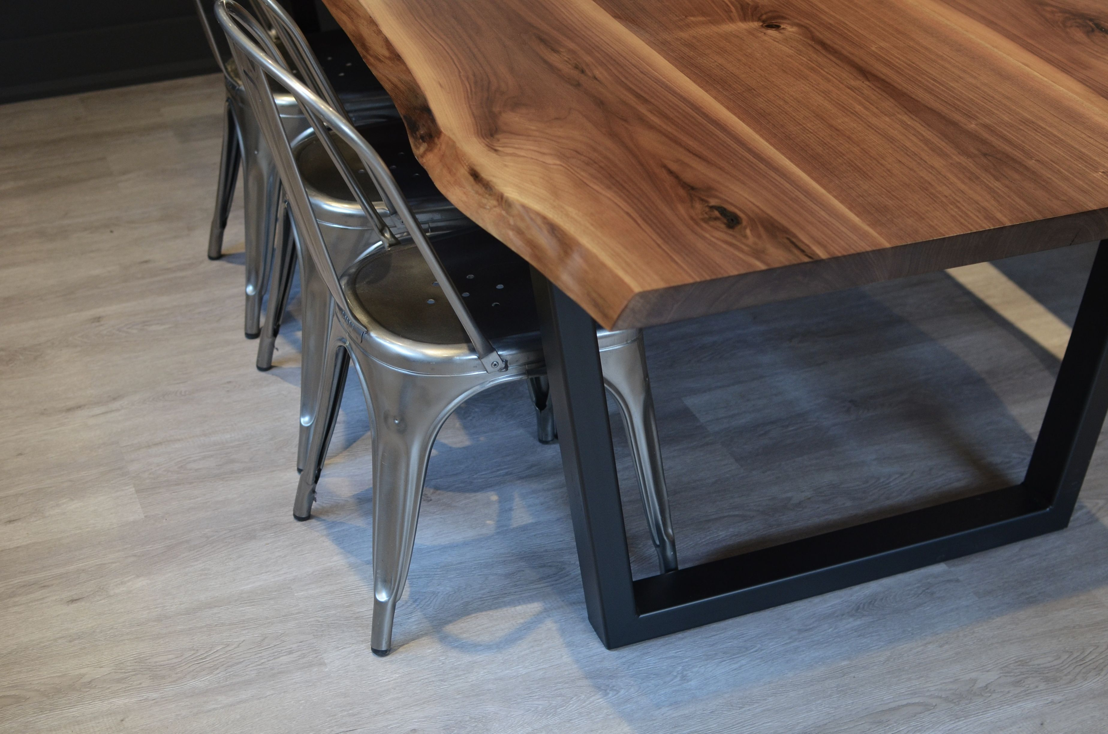 Live Edge Walnut Harvest Table With Welded Steel Trapezoid Base