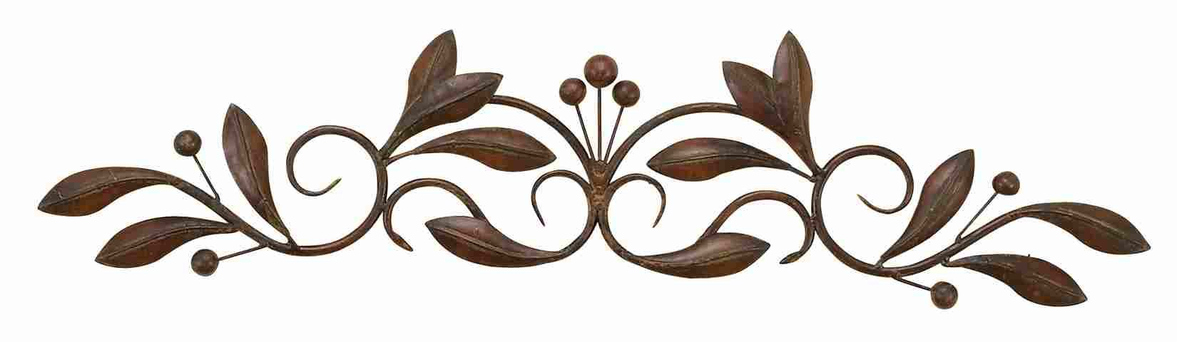 Rectangle Metal Scroll Wall Art Brushed Relief Small Buds Vines Nmd99545