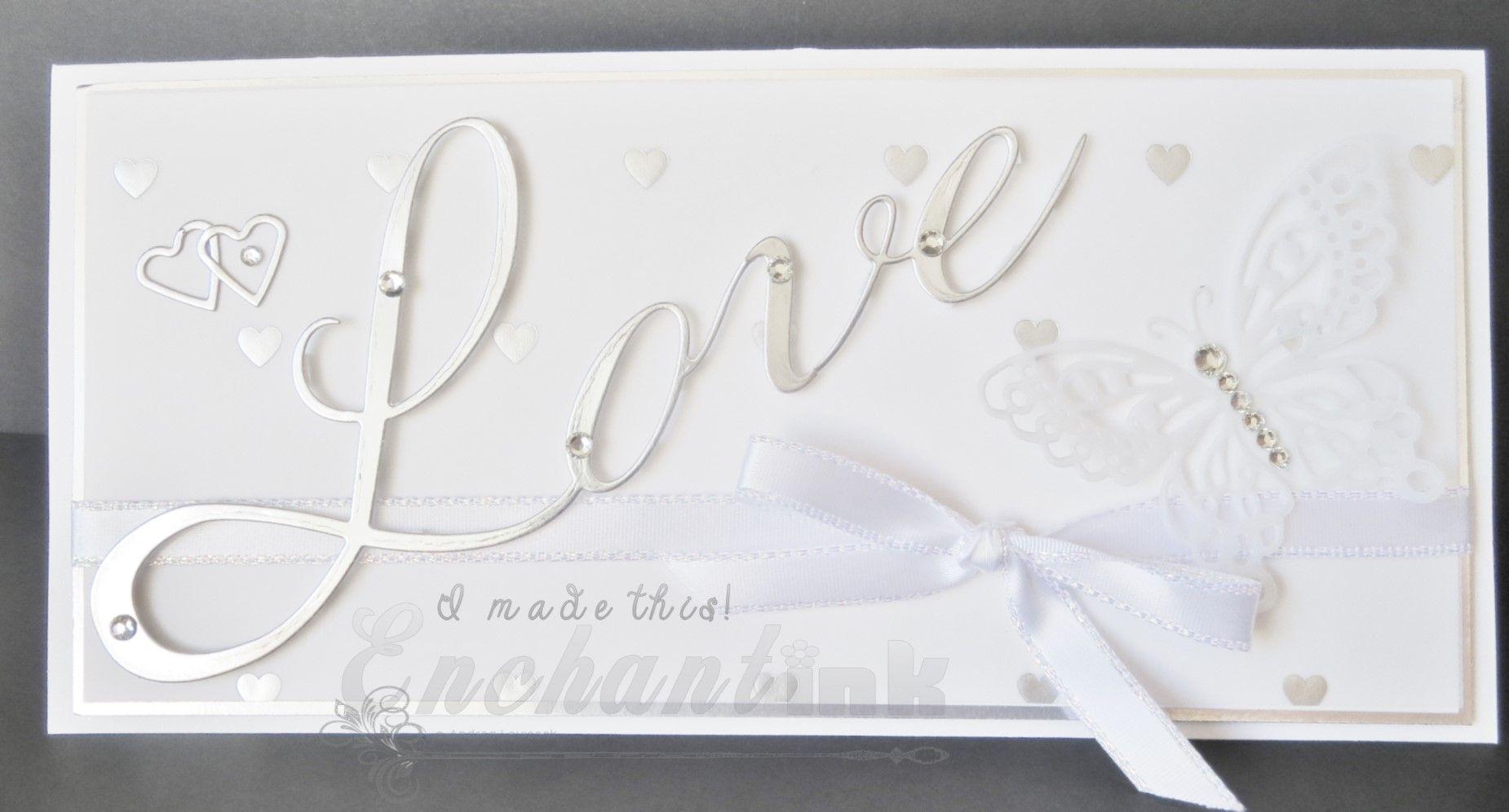 """Handmade Wedding Card ... Cheery Lynn Designs Die - """"Love"""" ... Frantic Stamper Die - """"Monarch Butterfly"""" ... EnchantINK"""
