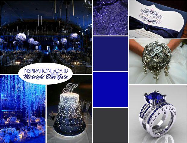 Modern Midnight Blue Wedding Inspiration Board