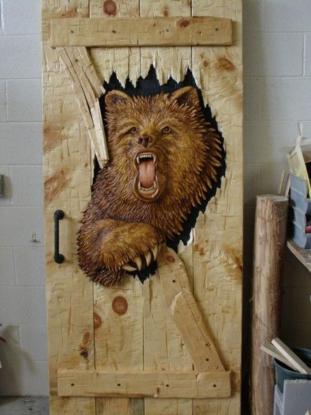 Party crasher doorfully carved bear one side secured to