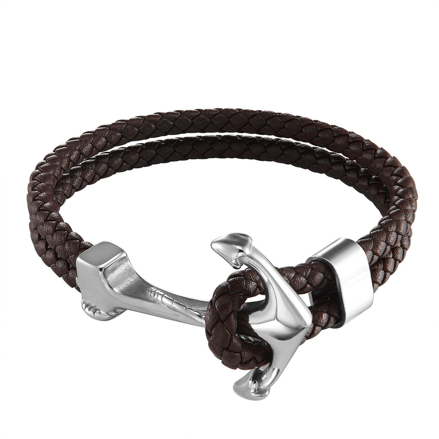 Ship anchor design bracelet brown double braided leather wrist band