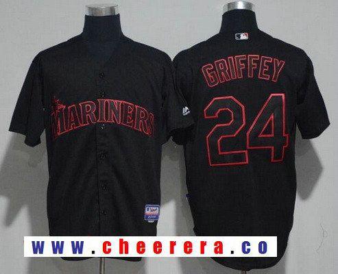 Men's Seattle Mariners #24 Ken Griffey Jr. Retired Green Salute to Service Majestic Baseball Jersey