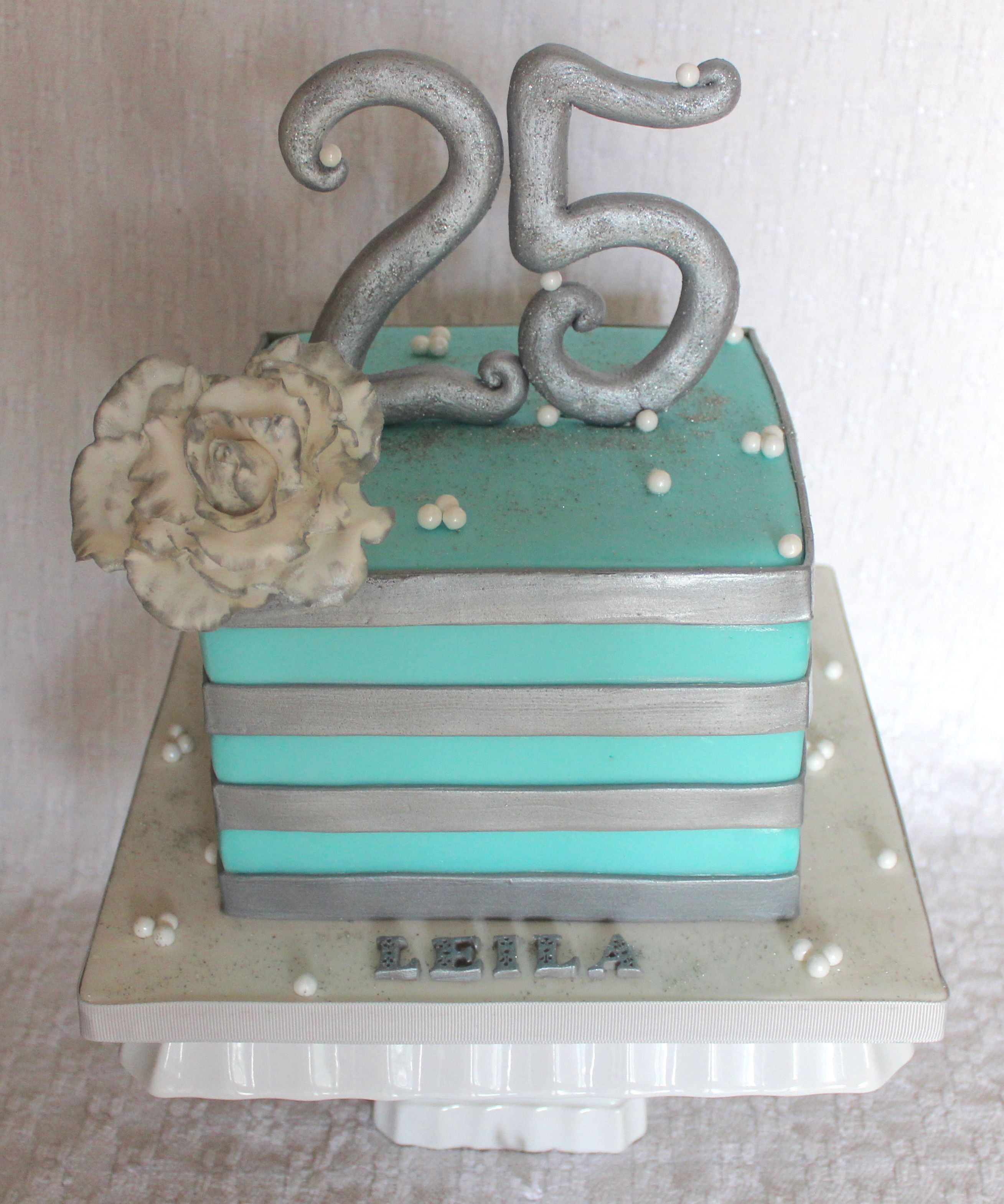 Tremendous 25Th Birthday Square Striped Cake Any Blue And Silver With Funny Birthday Cards Online Overcheapnameinfo