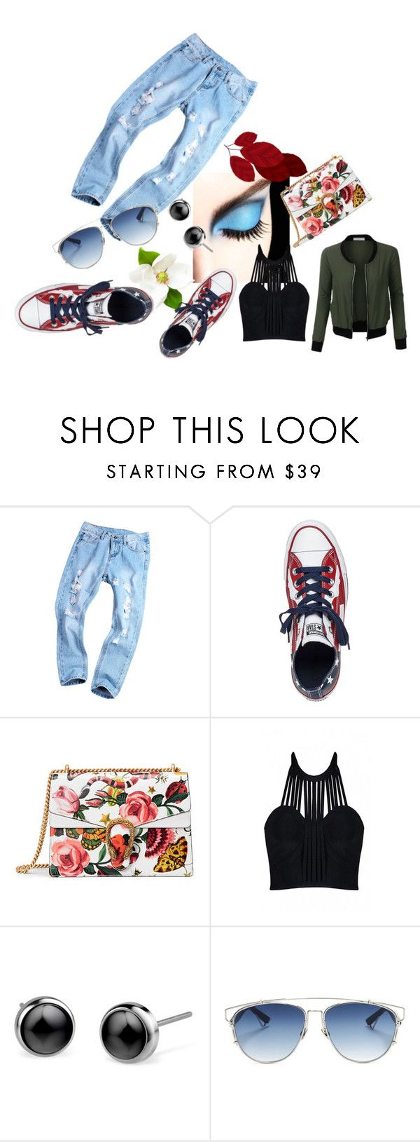 """Bez tytułu #50"" by marta81-1 ❤ liked on Polyvore featuring Converse, Gucci, Posh Girl, Christian Dior and LE3NO"