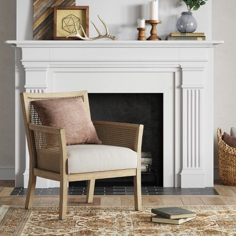 Laconia Caned Accent Chair Beige Threshold Tufted