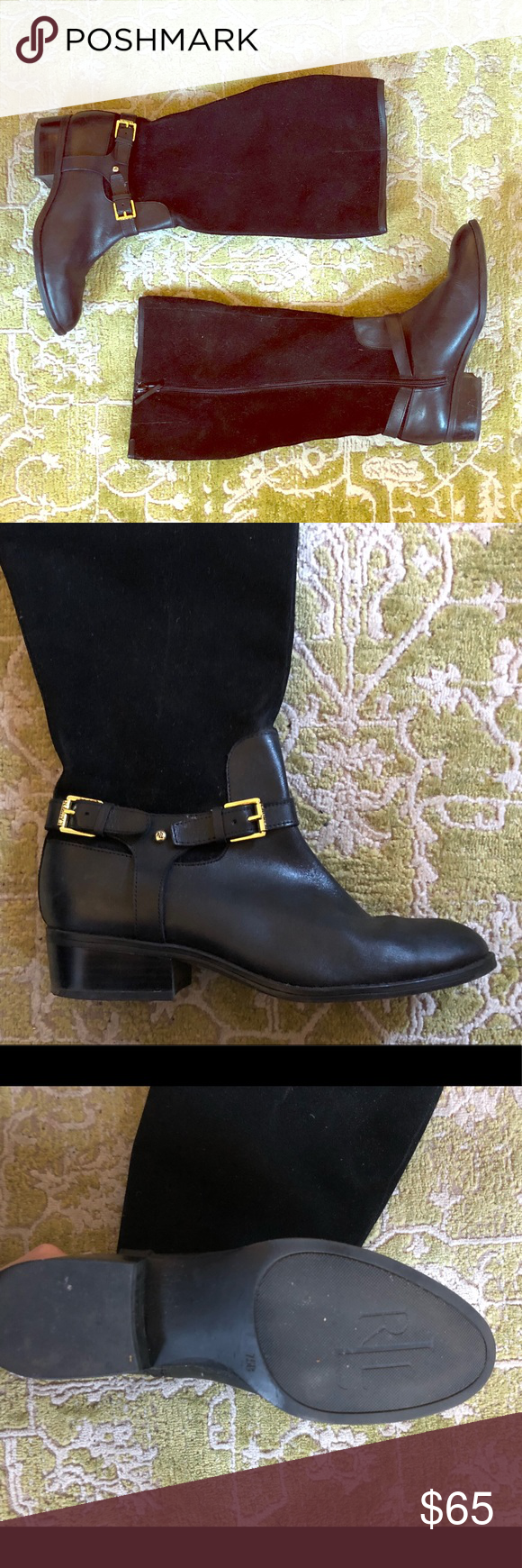 907f54ff5ed Ralph Lauren Riding Boots Ralph Lauren wide calf riding boots -Leather and  suede mix for