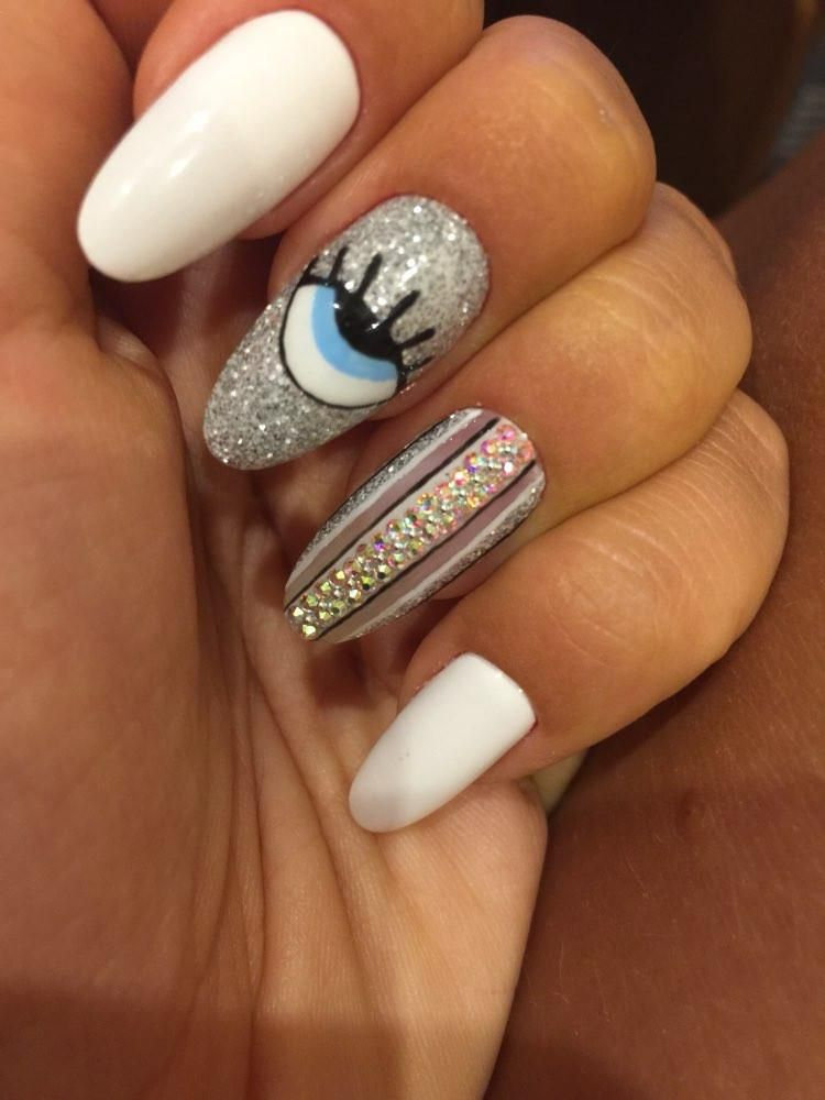 70 Simple Crystal Rhinestone Nail Designs For Summer Winter Fall Spring