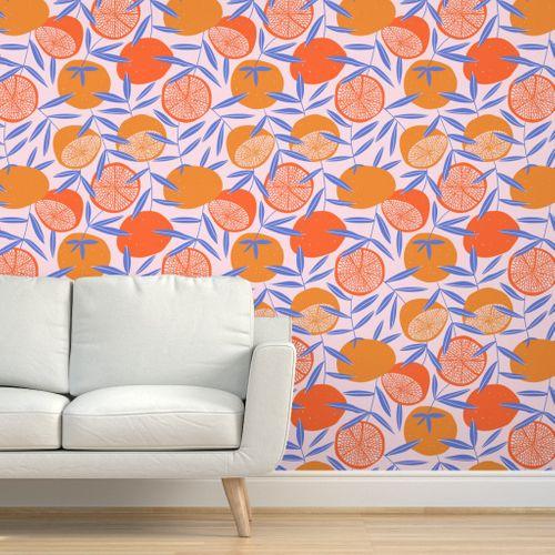Pop Art Grapefruits Removable Wallpaper Unique Wallpaper Peal And Stick Wallpaper
