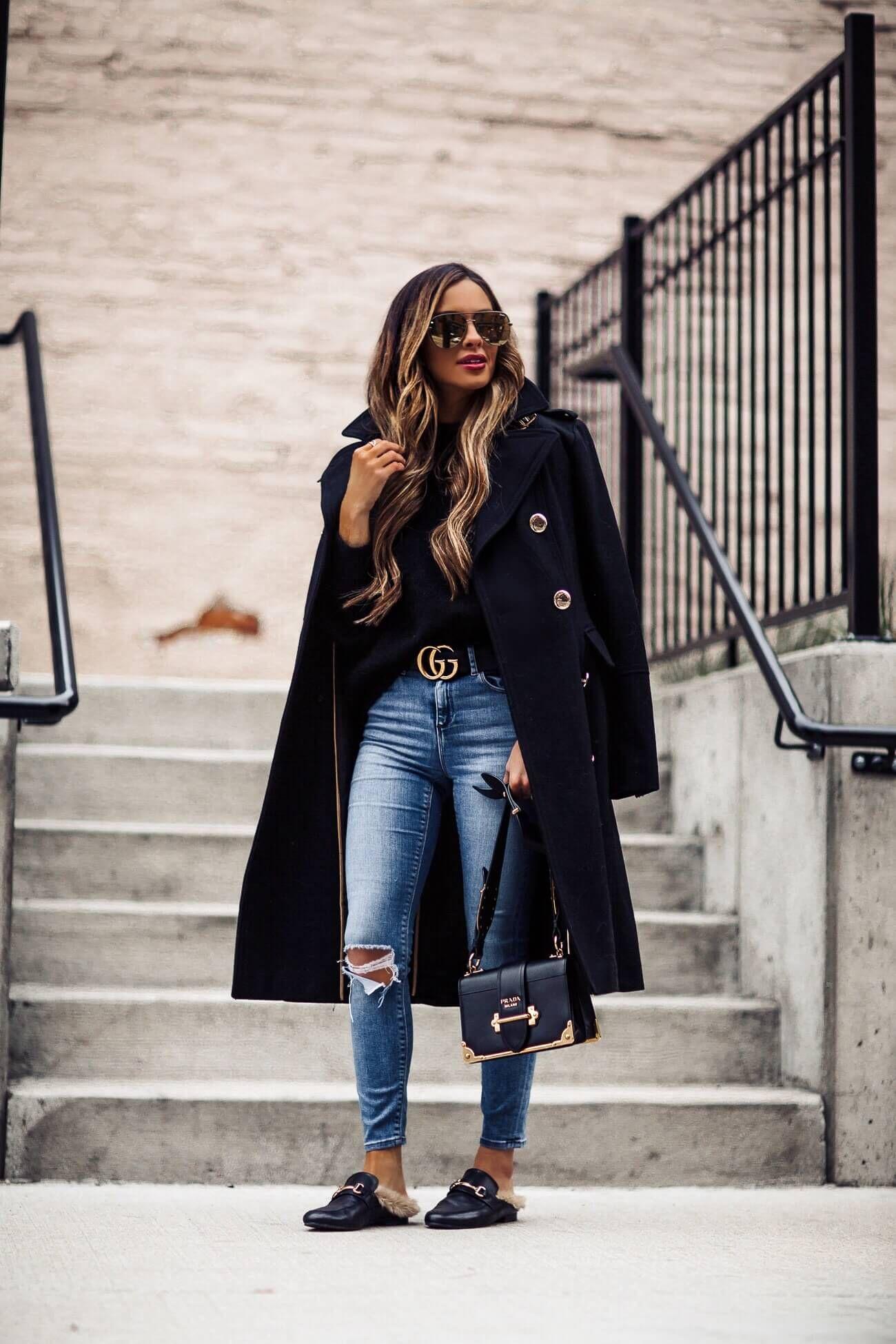 fashion blogger mia mia mine wearing steve madden faux fur slides and a  prada cahier bag 04e87f130