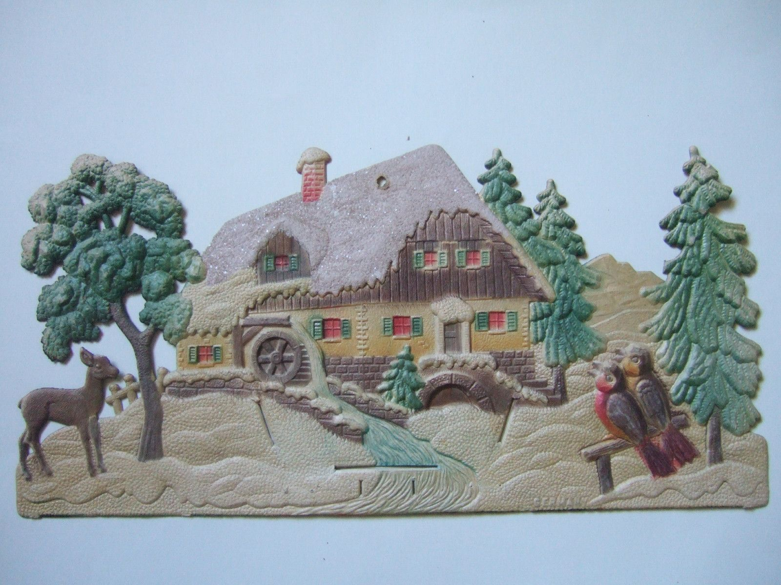 Large Vintage Embossed Die Cut Snow Covered Cottage Deer Singing Birds Germany | eBay
