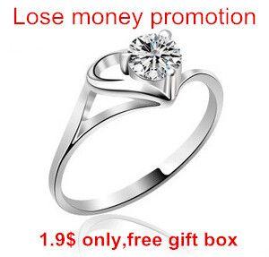 Promoción amor romántico corazón de plata 30% plateó anillos ladies'wedding joyas precio al por mayor envío de la gota