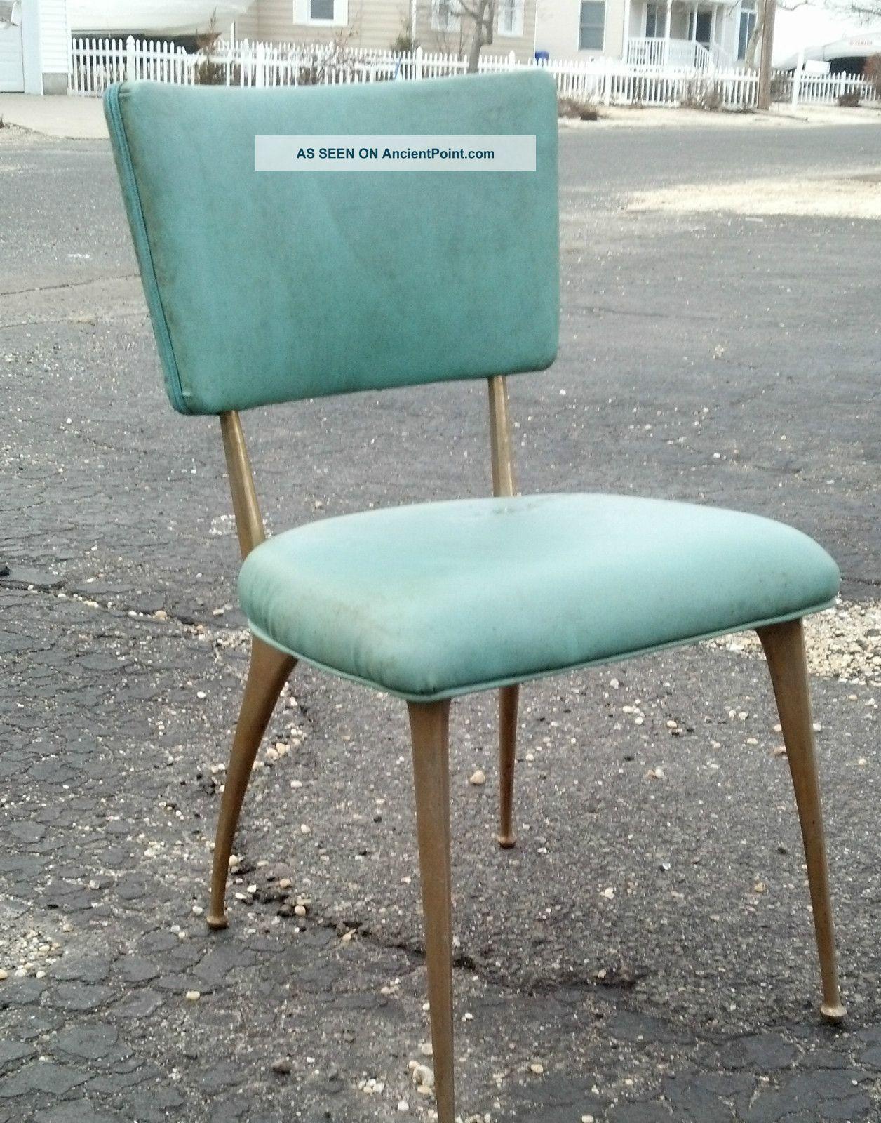 Set Of  Mid Century Eames Era Aqua Brass Legs Kitchen Chairs Dirty Not Damaged