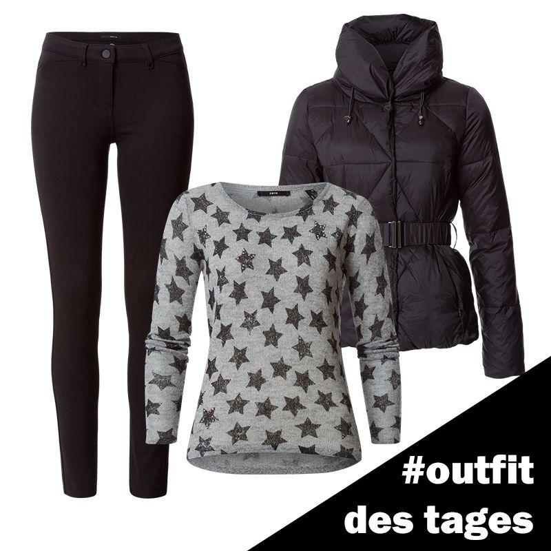 the best attitude afd51 0a2d8 Strickpullover mit Sternchen, Daunenjacke und Skinny Jeans ...