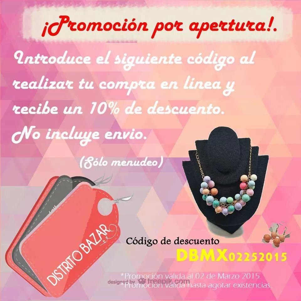 Aprovecha nuestra promoción por apertura! Encuentra los mejores accesorios para ti. www.distritobazar.com