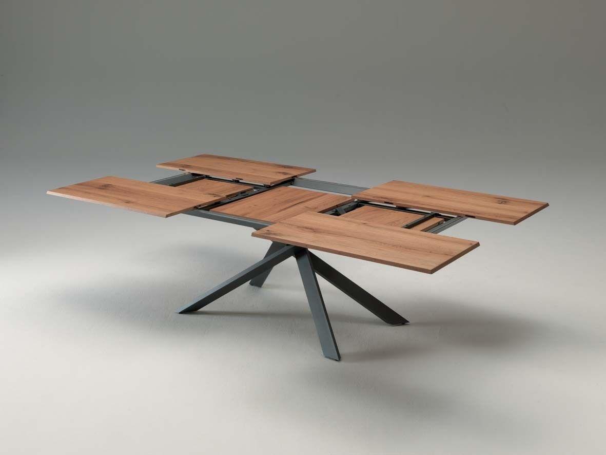 Tavolo Estensibile Rettangolare 4x4 Ozzio Italia Table Extensible Table Extensible Bois Table Basse Acier