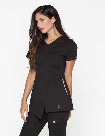 The tunic top in black is a contemporary addition to women for Spa uniform patterns