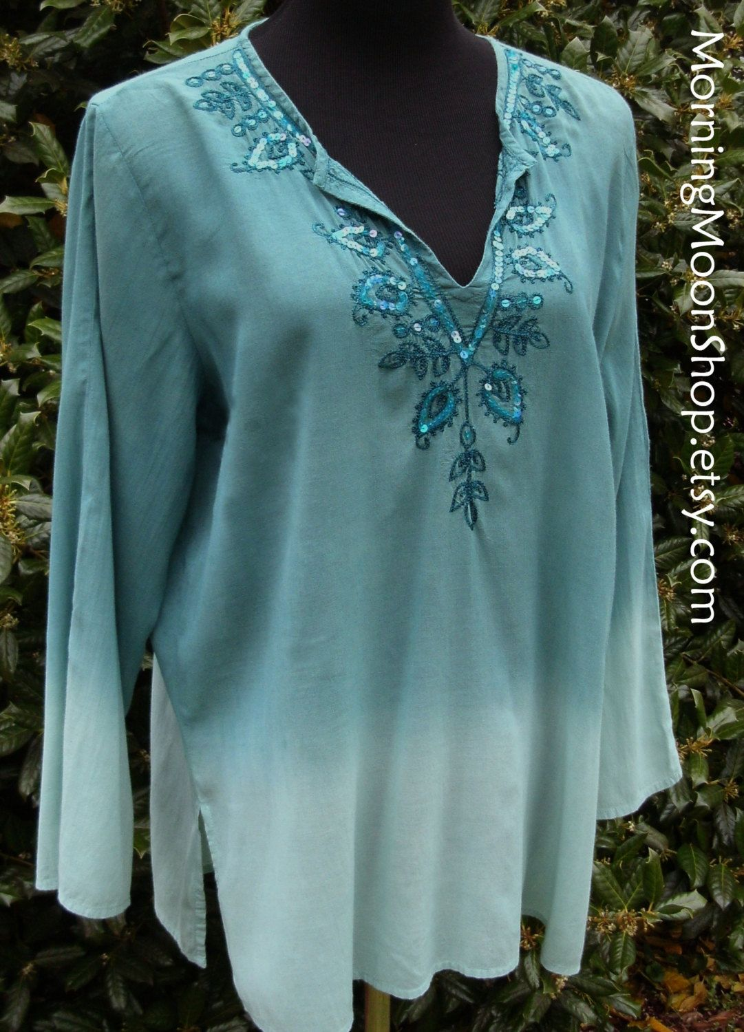 Turquoise HIPPIE SHIRT, sequined cotton/rayon gauze Tunic Top, teal blue-green Ombre, embroidered, Vintage 90s BOHO Chic, Festival wear, M by MorningMoonShop on Etsy