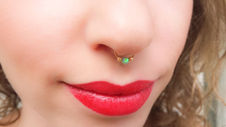 Nose piercing hole closed up  Opal Septum Opal Septum Ring Septum Nose Ring Opal Nose Ring