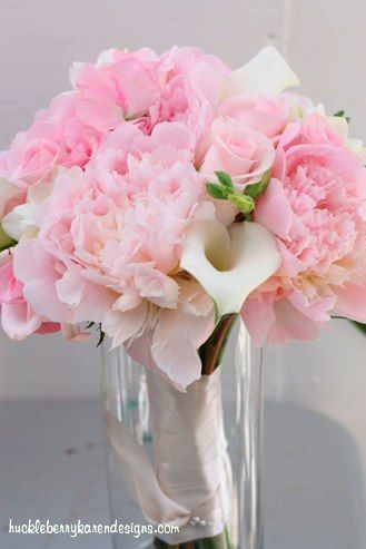 pink peonies, pink roses and white mini calla lilies ...