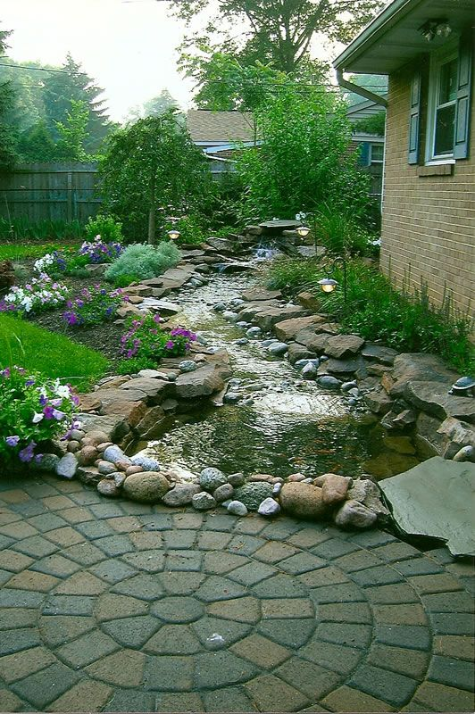 Water garden streams flowing stream with 8 foot for Backyard pond maintenance
