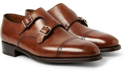 $1,905, Brown Leather Double Monks: John Lobb Phillip Ii Leather Monk Strap  Shoes.