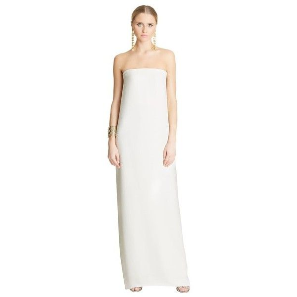 Oscar de la Renta Silk-Crepe Gown (£4,110) ❤ liked on Polyvore featuring dresses, gowns, gown, ivory, cocktail dresses, white dress, holiday dresses, evening gowns and special occasion dresses