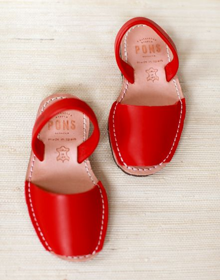 red leather sandals for little ones