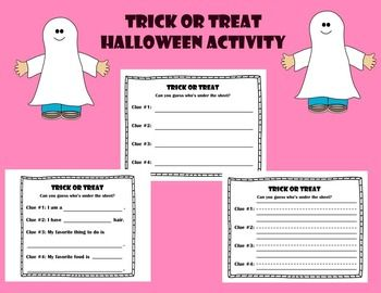 """This is a cute activity to do for Halloween. The worksheet says """"Trick or Treat Can you guess who's under the sheet?"""" I made a few different versions of this worksheet. One of the worksheets has most of the words filled out making it easier for the kindergarteners."""