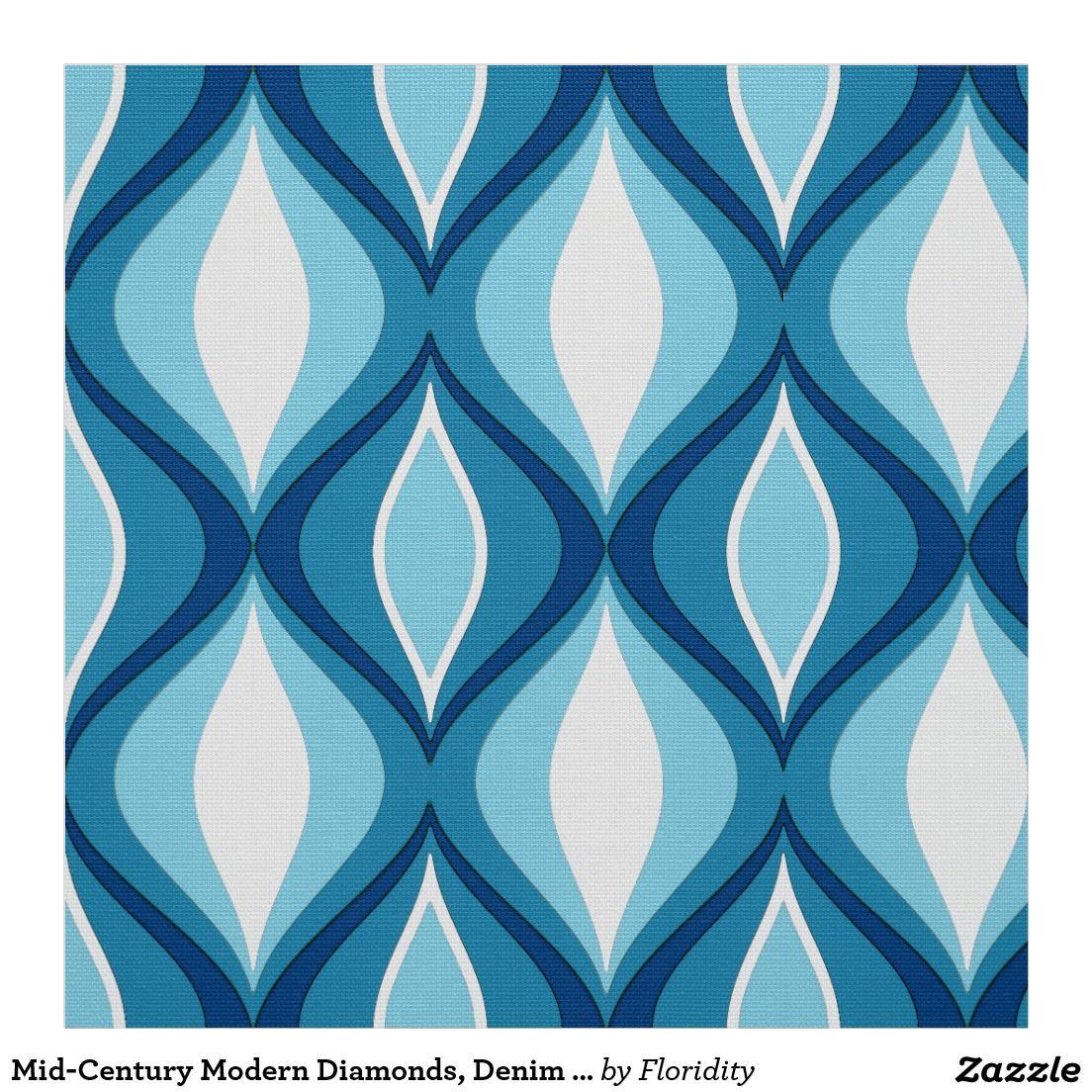 MidCentury Modern Diamonds, Denim Blues Fabric Mid
