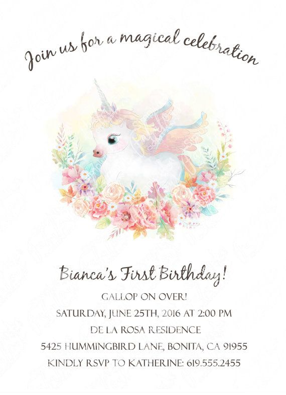 Whimsical Watercolor Baby Unicorn Invitation Unicorn Baby Shower
