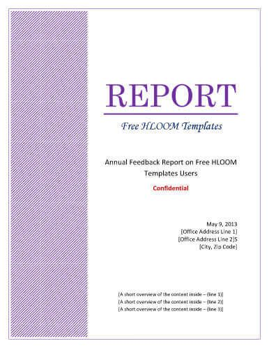 Purple pattern formal design - Free Title Page Template by Hloom - a report template