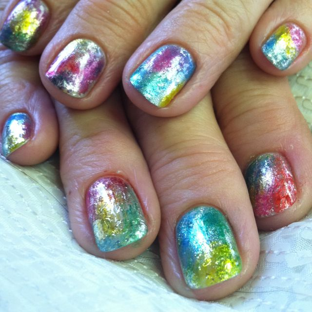 Cnd Shellac Nail Art With Cnd Additives And Foil Nail Art And