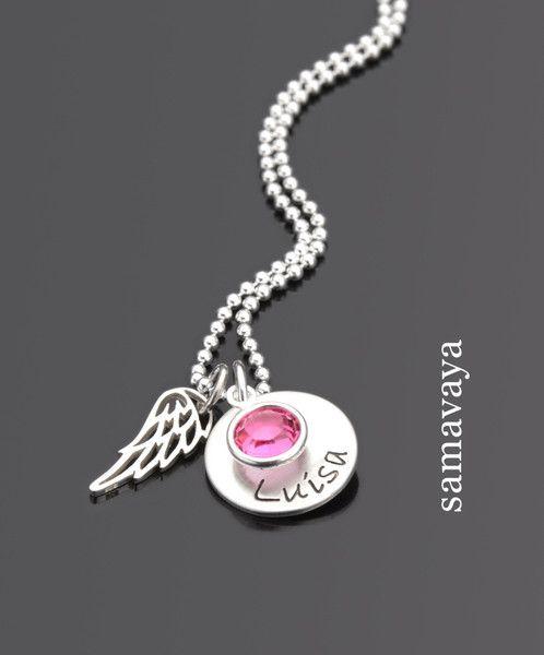 Taufkette LITTLE WING 925 Silberkette mit Namensgravur Taufschmuck Flügel Silber