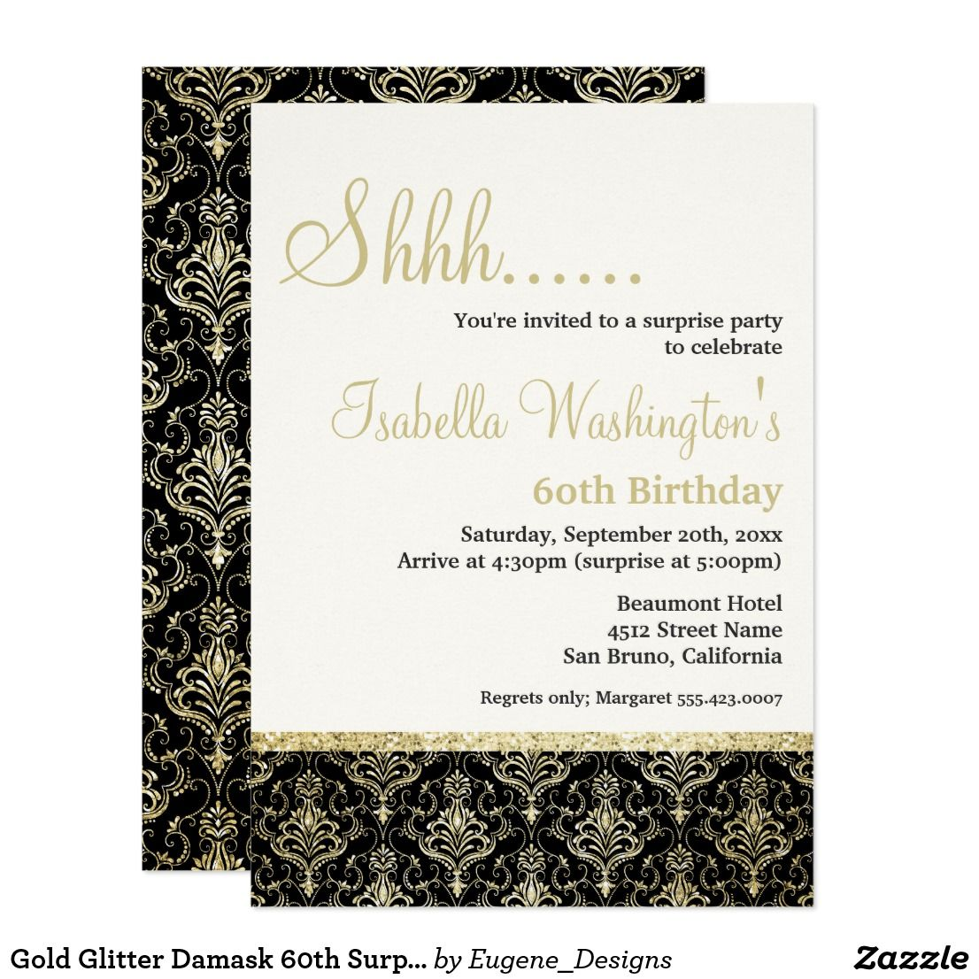 Gold Glitter Damask 60th Surprise Birthday Party Card | Surprise ...