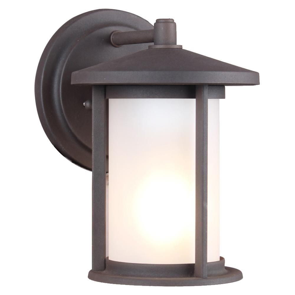 Dsi 1 Light Weathered Bronze Frosted Glass Outdoor Wall Mount Sconce 17545 The Home Depot Outdoor Wall Lantern Wall Lantern Sconces