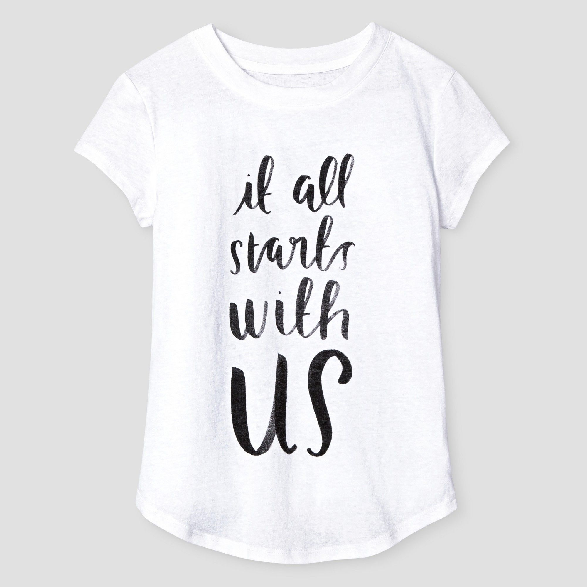 6c9069eb2 Girls  It All Starts With Us Graphic T-Shirt - Cat   Jack White XL ...